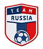 Club-of-Heroes 2er-Pack, Russland Russia Fussball/Stick Abzeichen 70 x 55 mm/Stickerei, Aufbügler, Applikation, Patch, Bügelbild für Kleidung, Cap, Taschen/National Team Trikot Shirt Dress Flagge Fan