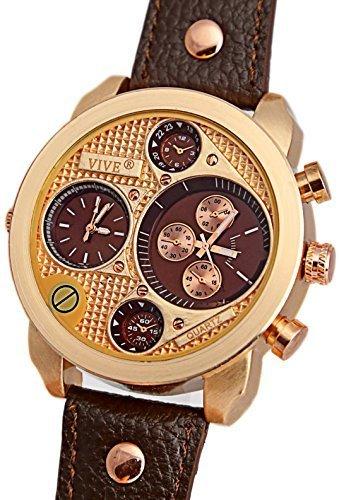 Banger Dualtime Gold Chocolat Chronograph for Men Double Temps Zwei Zonen Navigator Herrenuhr XL Atlas Modell mit 2 Uhrwerken Weltzeituhr Schwarz Silber mit Lederarmband...