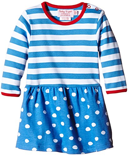 Toby Tiger 100% Organic cotton super soft long-sleeved dot dress.-Vestito  Bambina    blu 6-12