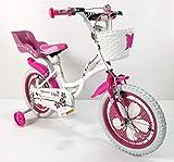 IBK Bici Bicicletta Bimba 16' Pollici Flower Rosa Bianco su Sfera Raggi Regolabili (Bianco)