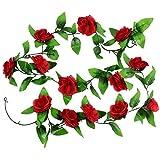 Vintage Künstlicher hängende Rebe Silk Rosen-Blumen-Blätter Dekoration, Gartenhaus Hochzeit Wand Schlafzimmer-Dekor - 2er-Pack, Rot