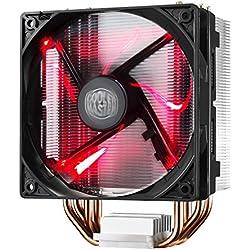 Cooler Master Hyper 212 LED - Ventiladores de CPU (4 Heatpipes, 1x Ventilador PWM de 120mm, LED rojo RR-212L-16PR-R1), negro y rojo