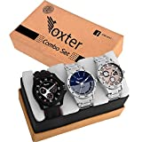 #4: Foxter Quartz Movement Analogue Display Multicoloured Dial Men's Watch(ARMBLK~27GREY~27SMILY) - Pack of 3
