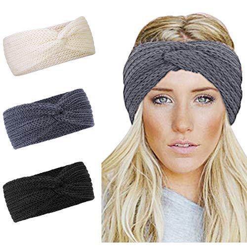 KQueenStar Damen Gestrickt Stirnband -3 Stück Häkelarbeit Schleife Headwrap Design Stirnband Winter Kopfband Haarband Headwrap Ohr Wärmer (Kreuz Schwarz + Weiß + Grau)