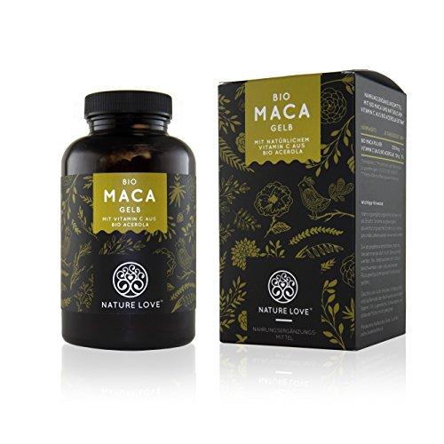 Bio Maca Kapseln – 3000mg Bio Maca gelb je Tagesdosis. 180 Kapseln. Mit natürlichem Vitamin C. Ohne Zusätze wie Magnesiumstearat. Zertifiziert Bio, hochdosiert, vegan, hergestellt in Deutschland