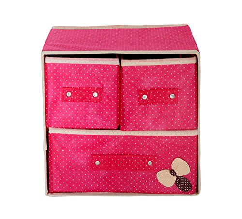 Pindia Foldable Fabric Storage Box Organizer, 3 Drawer, Pink