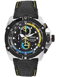 Seiko SPC049P1–Men's Leather Strap Watch–Black/Grey