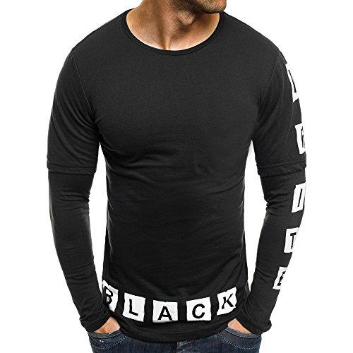 DNOQN Männer T Shirt Slim Fit T Shirts Sportbekleidung Herren Männer Lässig Gedruckte Briefe Patchwork Langarmshirts Bluse 2XL