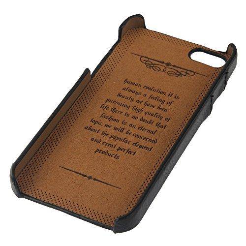 wkae Schutzhülle Fall & Bezug Litchi Textur Echtleder Back Cover Case mit Kartenfächern und Fashion Logo für iPhone 5/5S schwarz
