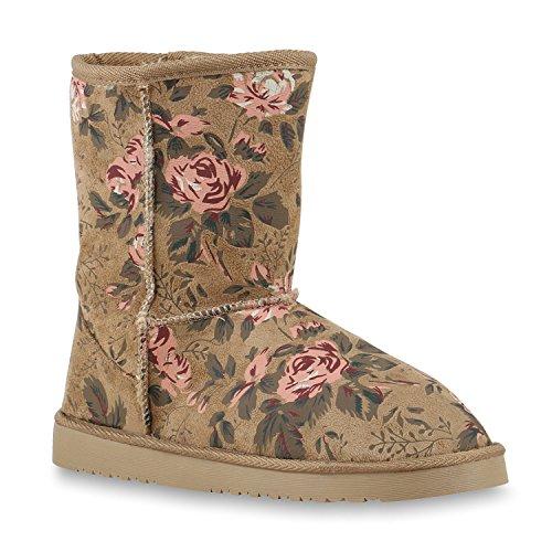 Damen Schuhe Schlupfstiefel Boots Winterstiefel Creme Muster