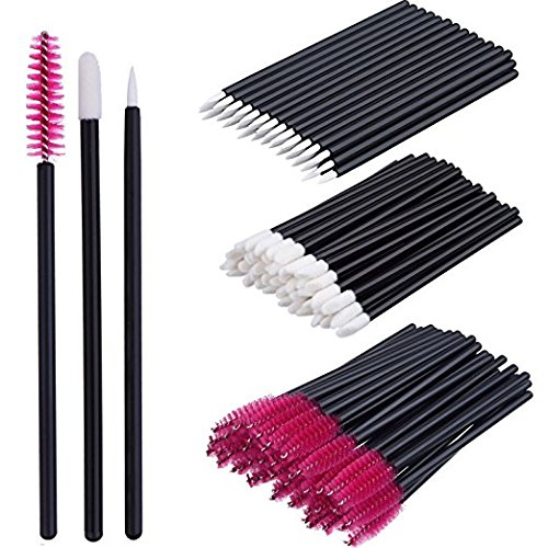 Make-up Pinsel Set Einweg Lip Brushes Lippenstifte Eyeliner Pinsel Wimpern Mascara Zauberstab Applikator Kosmetik Make-up Tool Kits - 3 Stil in 300 Pack (300k Kit)