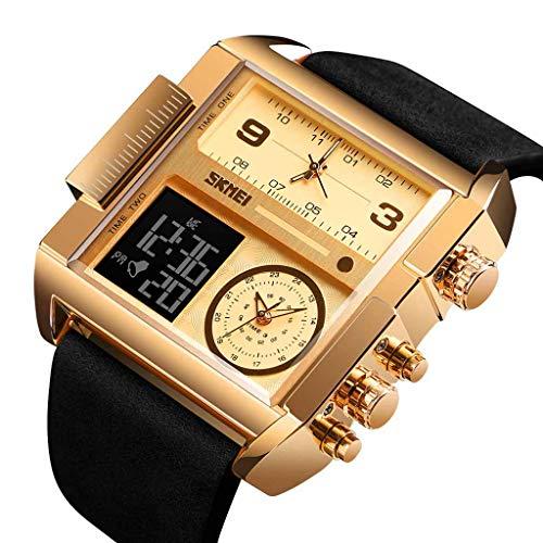 Haludock Herren 30M wasserdichte Multifunktions-Sportuhr Square Fashion Electronic Watch (Radio Sony Dusche)