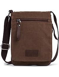 Hengwin Bolso de bandolera de lona Mini Cross Body Bag Messenger Bolsa de bandolera con clip de mosquetón y cinturón Se adapta para iPad Mini (marrón)