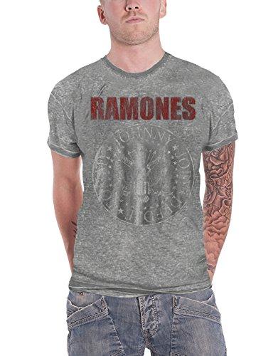 Ramones T Shirt Presidential Seal Hey Ho Logo offiziell Herren Nue Grau Burnout (T-shirt Burnout Herren)