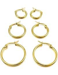 Acero Inoxidable Pendientes Conjunto - TOOGOO(R)3 pares 15mm 20mm 25mm Acero Inoxidable Aro Hoop Huggie Pendientes Conjunto Mujer Oro