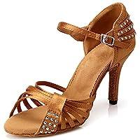 DLisiting Womens Latin Dance Shoes Ballroom Satin Rhinestone Performance Shoes (US5.5) Brown