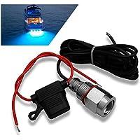 A-szcxtop barco tapón de drenaje luz sumergible para barco/barco/yate con una 9W LED resistente al agua y antioxidantes luz para pesca, natación y buceo (con conector impermeable), azul