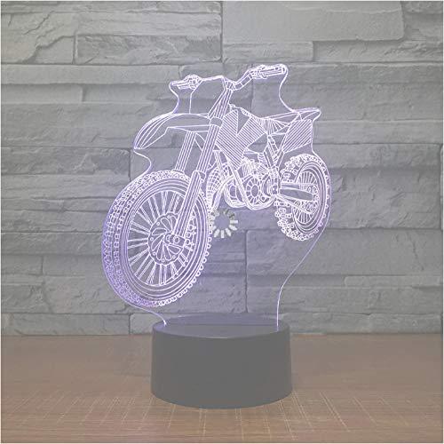Neue Off-Road-Motorrad Fahrrad-förmige Nachtlicht Neuheit 3D LED Schreibtischlampe USB 7-Farbwechsel Sensor Schreibtischlampe als Urlaub Geburtstagsgeschenk -