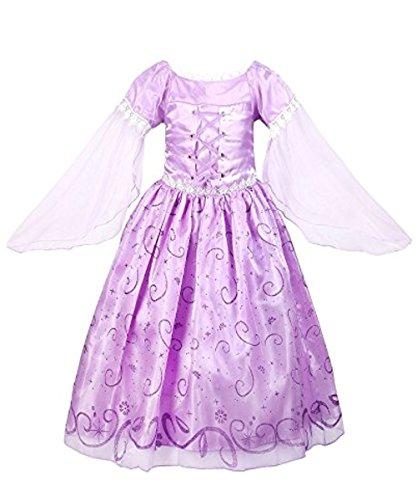 Yigoo Mädchen Kostüm Rapunzel Prinzessin Kleid Party Kinder Spitze Cosplay Paillette Kleidung Festival Hallween Karnerval 100 (Kleid Kinder Kleidung)