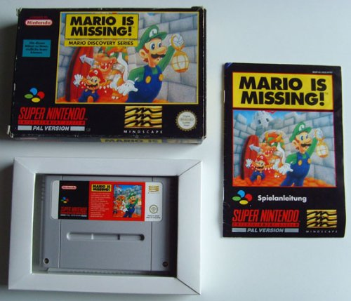 SNES Spiel: Super Mario is Missing + Anleitung + Originalverpackung in rot (für SNES Super Nintendo, PAL, deutsch)