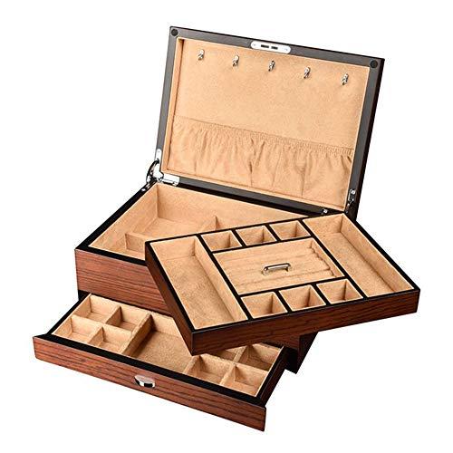 HAIHF Schmuckschatulle, Multifunktionales Europäischer Klassik Aufbewahrungsbehälter, Holzschmuck-Speicher-Organisator mit Schublade und Spiegel für Ohrringe/Ketten/Armbänder -