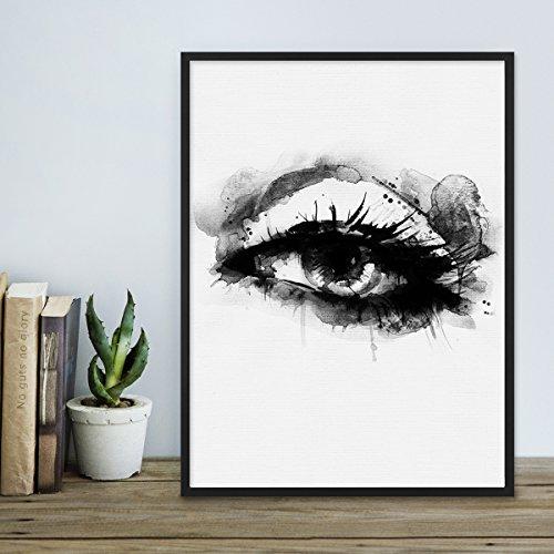 Design-Poster 'Auge' 30x40 cm schwarz-weiss Motiv Aquarell Frauenauge