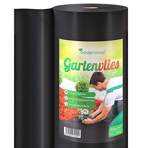 GardenGloss® 50m² Premium Unkrautvlies 150g/m² Extra Stark - Gartenvlies gegen Unkraut - Unkrautfolie Wasserdurchlässig - Reißfestes Unkrautflies - Hohe UV-Stabilisierung (50m x 1m, 1 Rolle)