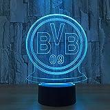 Mddjj Multi Led Deutsche Fußballmannschaft Bvb Nachtlicht Fußball Club 3D Illusion Tischlampe Farbwechsel Luminaria Touch Lichter Schlafzimmer Licht