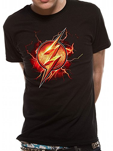 Offiziell lizenzierte Handelsware DC Comics Justice League Movie The Flash Symbol Unisex T-Shirt Tee, medium