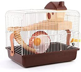 Sage Square Playhouse cage for Hamster Dwarf Gerbil Mice with Spare Floor, Exercise Wheel, Water Bottle, Hide House and Food Tray