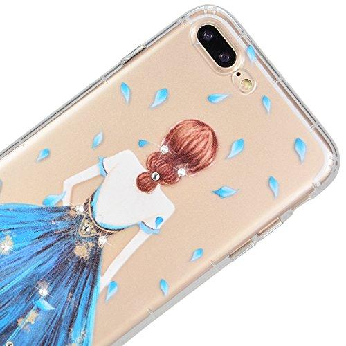 WE LOVE CASE iPhone 7 Coque, Étui de Protection en Premium Transparente Clair TPU Silicone Housse, Mince Motif Case Pour iPhone 7 - Fille rose Fille bleu