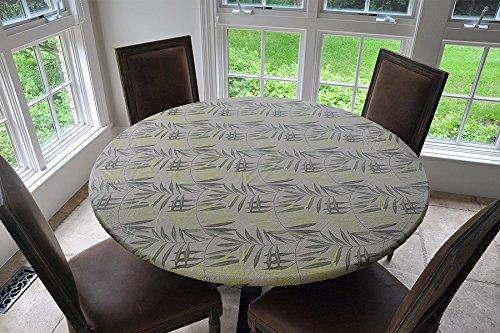Elastic Kanten Flanell Rückseite Vinyl ausgestattet Tischdecken, Vinyl, farngrün, Small Round (Runde Vinyl Tischdecke Ausgestattet)