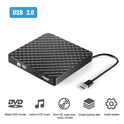 Externes DVD Laufwerk, Madgiga USB 3.0 CD-Lesegeräte Portable(tragbar) Ultra Slim DVD-RW CD/DVD Brenner/Burner Drive für Mac OS/Win7/Win8/Win10/Vista PC Desktop Laptop Schwarz (A)