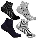 12 Paar L&K-II Damen Sneaker Socken Mädchen Füßlinge Bambus mit Ringel Punkte Muster 92276 35-38