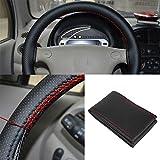 Sedeta® Protezione della copertura dello sterzo dell'automobile del cuoio sintetico Copertura del guanto del volante del cuoio con la filettatura per il SUV