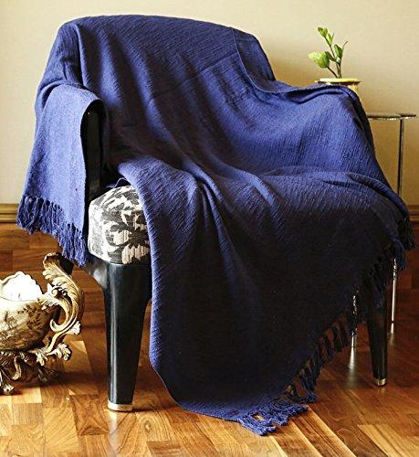 Rajrang grande coperta reversibile nave blue throw-copridivano gigante leggera super soft coperta indiana decorativa tiro per divano e divano 50x60