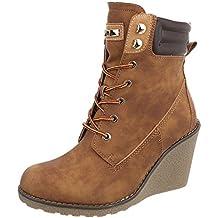 Ital-Design Zapatos para Mujer Botas Plataforma Botines con Cordones