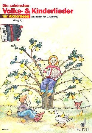 Die schönsten Volks- und Kinderlieder für Akkordeon mit Bleistift -- 31 beliebte Melodien sehr leicht gesetzt für 1-2 Akkordeons mit Text und Akkordsymbolen (Noten/sheet music)