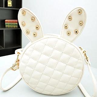 Girl Rabbit Ears Rivets PU Leather Handbag Shoulder Bag, White A