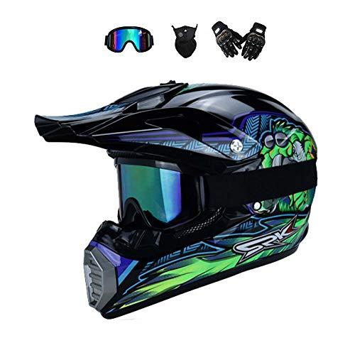 BMAQ Herren Motocross Helm, Crosshelm Motocross mit Visier Brille Handschuhe Maske, Enduro Quad Mountainbike Helm für Downhill Geeignet - Blau,L(57~58CM)