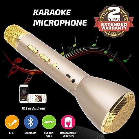 Microphone Karaoke sans fil Haut-parleur portable portatif Bluetooth Système d'enregistrement à batterie Micros condensateurs Pour les enfants Musique d'adulte chantant, Mini KTV Home Karaoke Player Compatible avec PC, ordinateur portable, Apple, iPhone, iPod, iPad, Android Smartphone (Or)