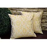 """Premium Quality """"PURE BROCADE CLASSIC WHITE & GOLDEN MUGHAL INLAY DESIGN"""" Decorative Cushion Covers (Set Of 2) (12""""x 12"""" Inches I.e 30x30 Cms)- By Royal DecoFurnishing"""
