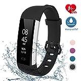 fitpolo Fitness Uhr Wasserdicht Fit Uhr mit Pulsmesser Aktivitäts-Tracker Fitness Armband, Schrittzähler Uhr, Smart Watch für Kinder Herren Damen(Schwarz)