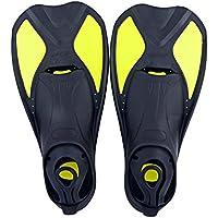 Aleta de natación universales | aleta de entrenamiento de flexible para bajar la suspensión para niños y adultos | aleta de goma thermoplastiques para la piscina de natación buceo en apnea, deportes acuáticos, Yellow-6, XL 44-45
