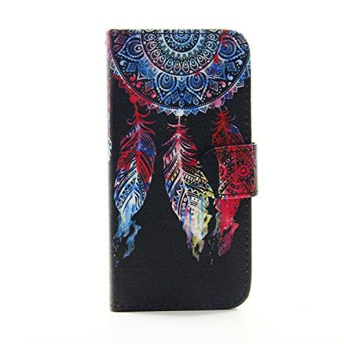 Etche Schutzhülle für iPhone 6 Plus/6S Plus 5.5 Zoll Hülle,iPhone 6 Plus/6S Plus 5.5 Zoll HandyHülle bunt Muster,iPhone 6 Plus/6S Plus 5.5 Zoll Brieftasche Ledertasche, Luxus niedlich Cartoon PU Leder Feder Rot