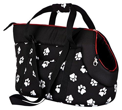 Hobbydog TORCWL3 Tragetasche für Hunde und Katzen, 27 x 25 x 43 cm, schwarz mit Pfoten