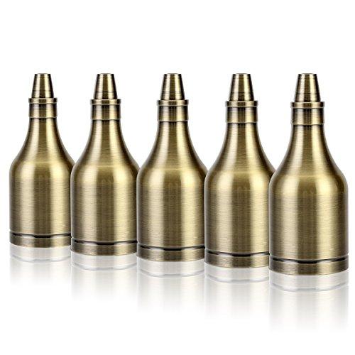 Preisvergleich Produktbild 5x GreenSun LED Lighting Vintage Flasche Edison Stil E27 Lampenfassung Deckenfassung Lampensockel Retro Alu E27 Fassung für Pendelleuchte Deckenleuchte DIY Beleuchtung Adapter, Bronze