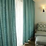 YYHAD Wohnzimmer Vorhänge Vorhänge im Schlafzimmer Blau Leinenvorhänge Wohnzimmer Vorhänge Vorhänge im Schlafzimmer Schatten Vorhänge Continental Vorhang Baumwollvorhänge (größe : 350 * 270CM)