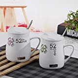 TIANLIANG04 Tazas Tazas de café Los Amantes De La Taza De Cerámica _520 Con Tapa Cuchara Taza De Cerámica 520, 401-500Ml