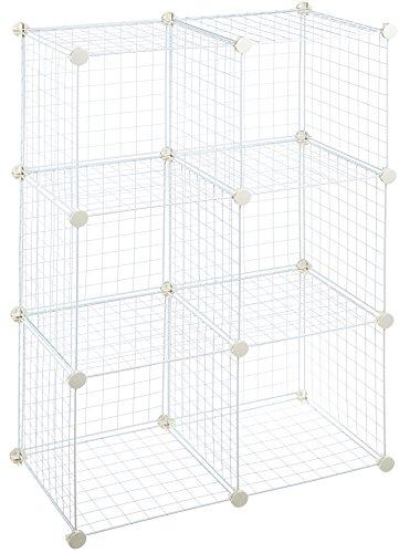 AmazonBasics Lot de 6 cubes de rangement en fil métallique - Blanc